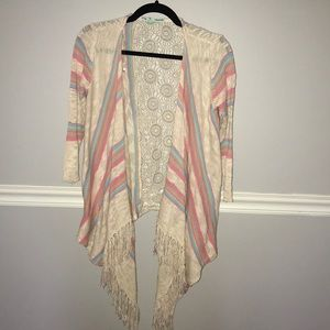 Maurice's Sz S Crochet Back Sweater with Fringe